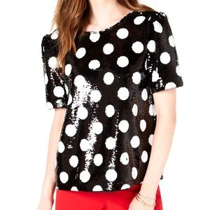 3/$45 Maison Jules Sequined Polka-Dot Top Shiny